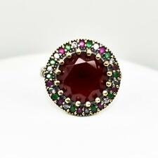 Deco 7.48ctw Ruby, Emerald & Sapphire 14k Yellow Gold / Sterling Silver Ring