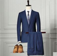 Navy Blue Wedding dress Men's Casual Business Suit One Button Slim Fit Suit