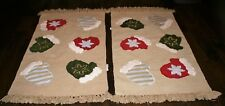 """Cute!   winter theme   (2) throw RUGS   fuzzy mittens    29"""" x 50""""    washable"""