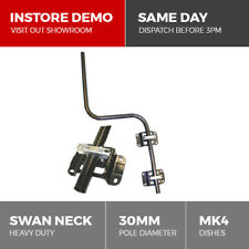 Heavy Duty Sky Satellite Dish Swan Neck Cranked Pole Mast with Brackets & Clamps