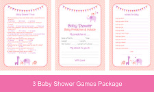 Pink Baby Girl Shower Game Pack (predictions, wishes and trivia) 20 PLAYERS