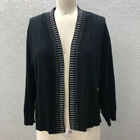 Ronni Nicole Knit Cardigan Sweater Women's Plus 2X Black Embellished Open Front