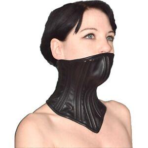 Verschließbares Bondage HALSKORSETT mit Kinn aus Kunstleder* Fetisch Halsband