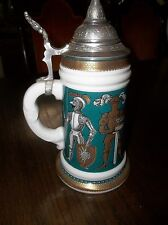 "German Lithophane 9.5"" x 6"" x 4.5"" TANKARD WITH KNIGHTS  140603013"