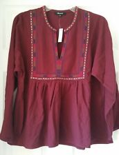 Madewell Women Embroidered Bohème Popover Shirt F9025 L Large $98 F9025 burgundy