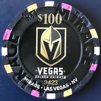 The Mirage $100 Casino Chip - Vegas Golden Knights - Las Vegas #3423 VGK Hockey