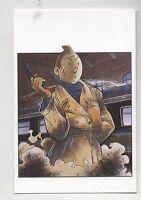 Carte Postale Tintin par Pascal SOMON. Tintin au pistolet.  Tirage limité
