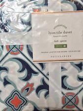 Pottery Barn LYON TILE Organic Full/Queen Duvet NLA@PB