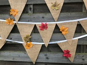 HANDMADE HESSIAN  FABRIC BUNTING. WEDDINGS. PARTIES.LEAVES ON EACH FLAG.