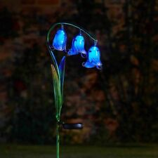 Solar Powered Blue Bluebell Stake Metal Glass Garden LED Lights Decor Outdoor