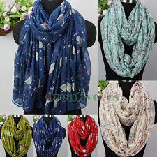 Fashion Womens Robin Birds&Floral Print Viscose Ladies Long Shawl/Infinity Scarf