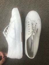 Superga LEATHER Strap Sneakers In White Womens, Size EUR 39/25cm