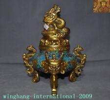 Tibetan Buddhism Bronze Cloisonne Gilt Buddha head Dragon Incense burner Censer