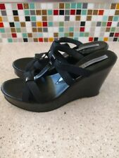 546bfecdccb CHARLES DAVID Black Patent Leather Stretchy slip on Platform Sandal EU40 US  8.5