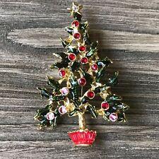 Enamel Xmas Tree Rhinestone Star  Holiday Christmas BROOCH PIN Lot G