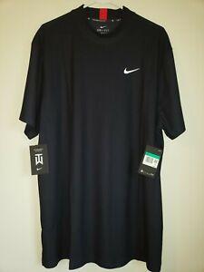 Nike Golf Tiger Woods Mock Neck Polo Shirt CT6078 451 Navy Blue XLarge NWT
