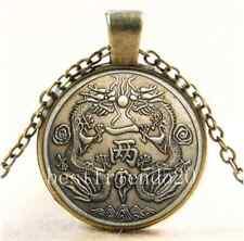 Vintage Chinese Ancient Dragon Cabochon Glass Bronze Pendant  Necklace