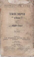 TRIUMPH 1800 SALOON & 18TR ROADSTER 1947-48 ORIGINAL OWNERS INSTRUCTION HANDBOOK