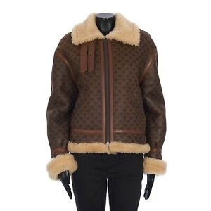 "CELINE 6900$ ""Triomphe"" Monogram Shearling Bomber Jacket In Cream / Tobacco"
