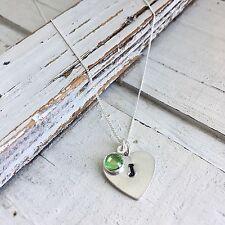 Silver Initial Birthstone Necklace Handstamped Handmade Jewellery Keepsake Gift