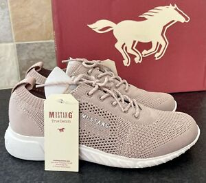 MUSTANG LADIES ROSE PINK LOW TOP TRAINERS SNEAKERS SHOES PUMPS UK 3 NEW WOMENS