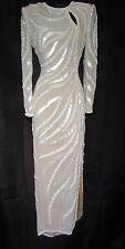 Sz 6 A J Bari Ivory Beaded & Sequined Wedding Or Formal Vintage Gown