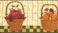 Wallpaper Border Warren Kimble Americana Country Fruit Baskets With Green Trim