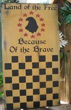 Primitive Sign Checkerboard Game Board Eagle Stars Patriotic Land of the Free