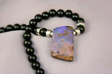 Black Onyx Gem Stone Australian Boulder Opal Necklace