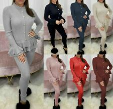 Womens Fine Ribbed Frill Peplum Gold Button Ladies Loungewear Suit Tracksuit Set