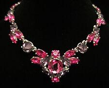 "Rare Vtg 16x1-1/2"" Signed Schiaparelli SIlvertone Pink Purple Glass Necklace A48"