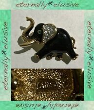 Vintage Signed A&S ATTWOOD & SAWYER Enamel Diamante Crystal Elephant Brooch Pin