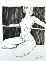 """Nude Female Figure Ink Drawing on Paper 9""""x12"""" Original Signed"""