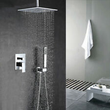 "Chrome Bathroom 16"" Square Rain Shower Head 2-Way Valve Mixer Tap Ceiling Faucet"