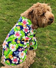 Hawaiian dog shirt 20-45cm xsmall-xxlarge dogs blue with pocket very cool NEW