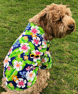 Hawaiian dog shirt clothes 20cm - 45cm xsmall-XXL dogs blue with pocket NEW