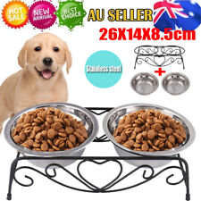 Double Elevated Pet Bowl Dog Cat Feeder Food Water Raised Lifted Stand Rack AU