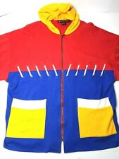I.B. Diffusion Vintage 80's 90's S bright Color Blocking Zip Up Hoodie Size Lrg.