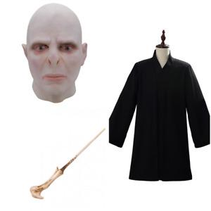 Lord Voldemort Cosplay Costume Mask Magic Wand Robe Full Set