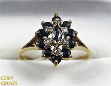 Estate Blue Sapphire 14k Yellow Gold Diamond Accent Ring Artist Signed Size 6.75