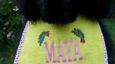 Personalized Dog drooling bib with Christmas Ivy - FREE UK post - Unique gift