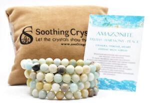 Multi Amazonite Beaded Bracelet 8MM AA Round Beaded Healing Stretch Bracelet