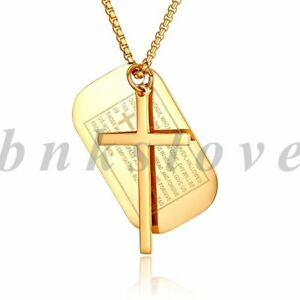 Mens English Bible Lords Cross Dog Tag Stainless Steel Pendant Necklace Chain