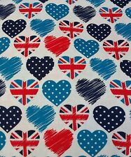 "UNION JACK HEARTS POLKA DOT 45""WIDE 100% cotton poplin  fabric sold by the metre"