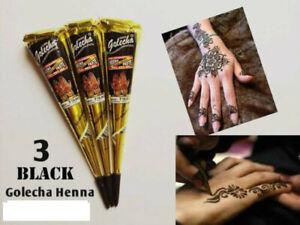3 X INSTANT BLACK HENNA TATTOO CONES 100% ORGANIC MEHANDI ARABIC INDIAN UK KIT
