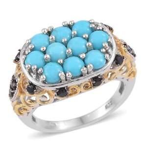 Sleeping Beauty Turquoise,Thai Black Spinel 14KYG  Platinum On St.Silver Ring