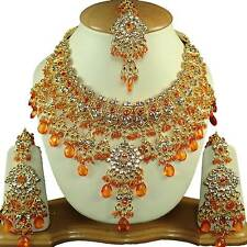Ethnic Party Wear Beautiful Jewellery Gold Tone Orange Necklace Set Q413