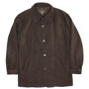 Ermenegildo Zegna Mens Car Coat M 50 Solid Dark Brown Wool Cotton Button Front