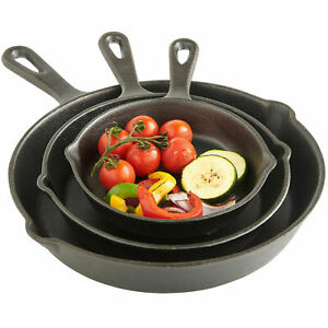 3PCS Cast Iron Stick Frying Pan Pre Seasoned BBQ Griddle Skillet Grill Set