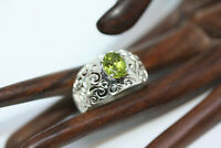 New Cast Genuine 2.5 CT Oval VS1 Peridot Filigree 925 Sterling Silver Ring Sz 12